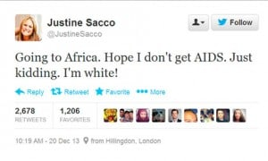 What 2013 Taught Me - Justine Sacco Offensive Tweet